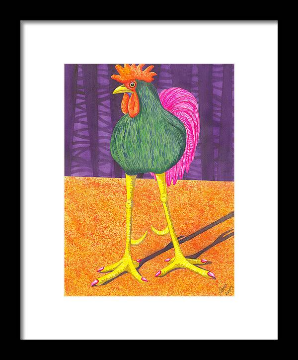 Rooster Framed Print featuring the painting Chicken Legs by Catherine G McElroy