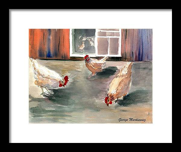 Farm Aniimals Framed Print featuring the print Chickens In The Barnyard by George Markiewicz