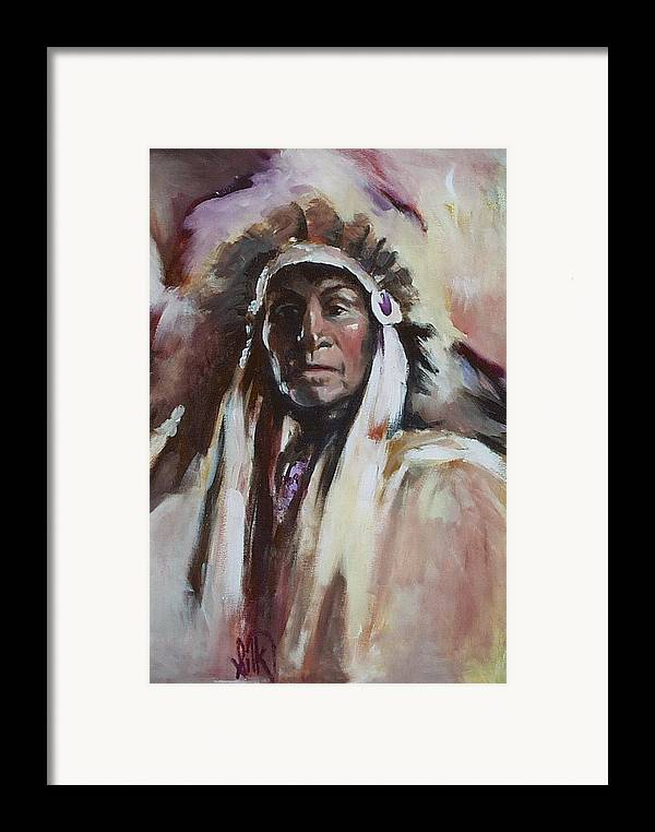 Native American Framed Print featuring the painting Chief 1 by Elizabeth Silk