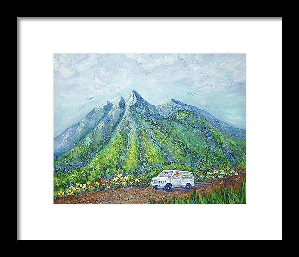 Mountains Framed Print featuring the painting Chief And Amigos South Of The Border by Sheri Hubbard