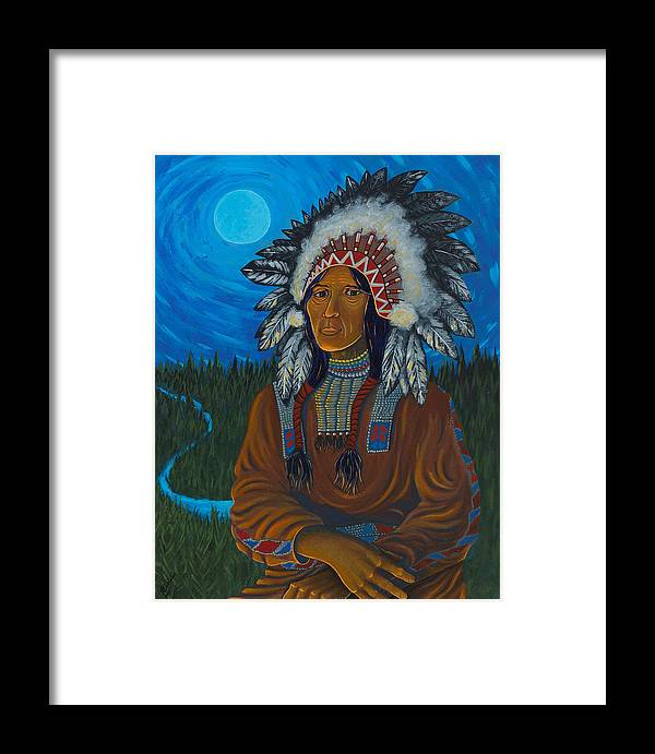 Chief Framed Print featuring the painting Chief Before Campfire by Arnold Isbister