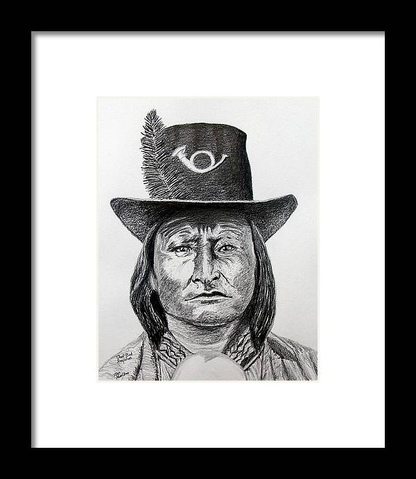 Indian Framed Print featuring the drawing Chief Bird-arapahoe by Stan Hamilton