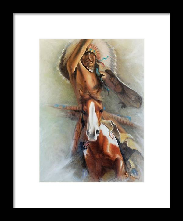 Native American Framed Print featuring the painting Chief Hole In The Day by Elizabeth Silk