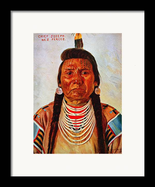 1890s Framed Print featuring the photograph Chief Joseph, Nez Perc� Chief by Everett