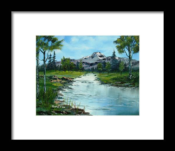 Oil Framed Print featuring the painting Chief Joseph Ranch Montana by Larry Hamilton