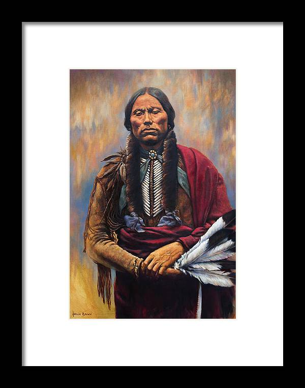 Indian Chief Framed Print featuring the painting Chief Quanah by Harvie Brown