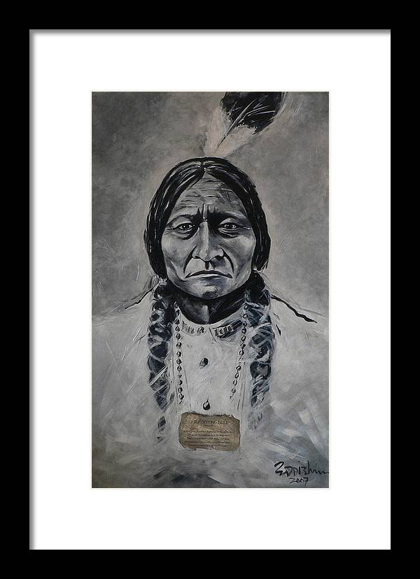 Figurative Framed Print featuring the painting Chief Sitting Bull by Eddie Lim