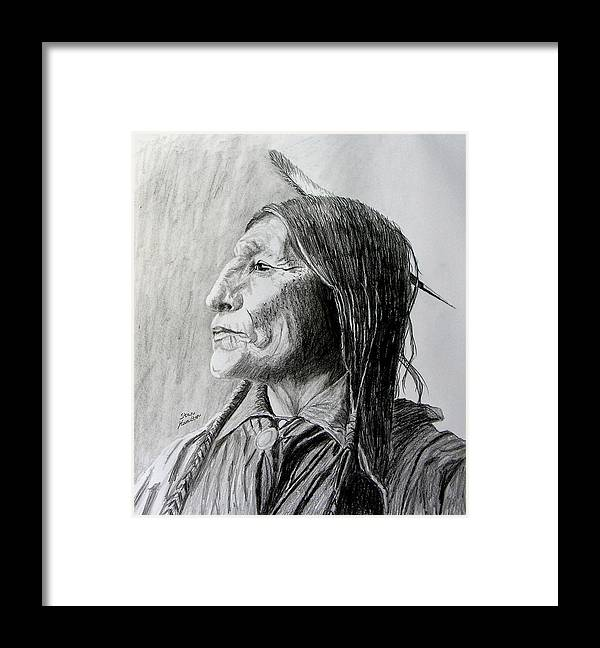 Original Drawing Framed Print featuring the drawing Chief Wolf Robe by Stan Hamilton