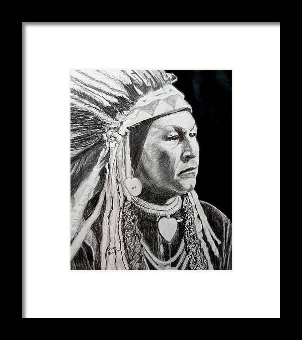 Indian Portrait Framed Print featuring the drawing Chief Yellow Wolf by Stan Hamilton