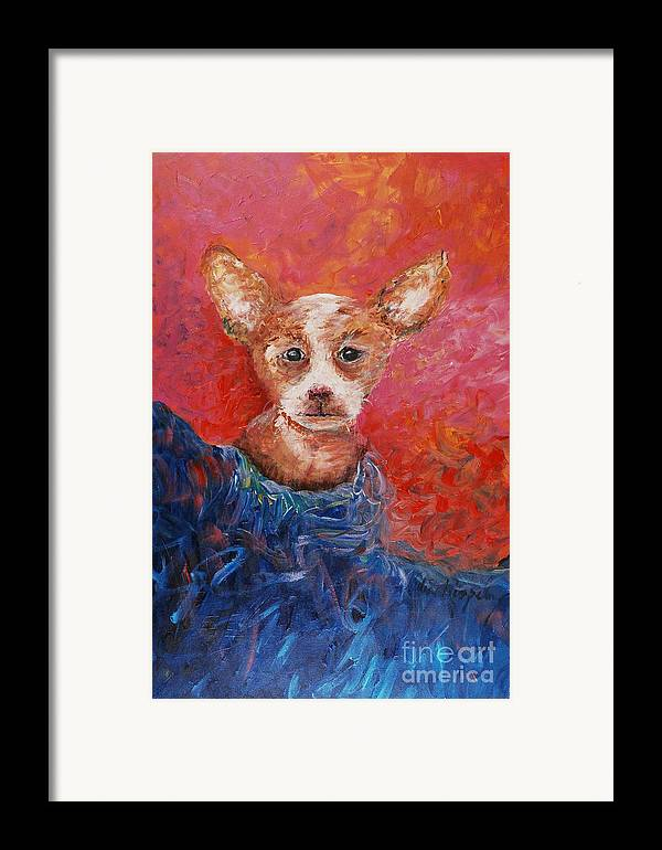 Dog Framed Print featuring the painting Chihuahua Blues by Nadine Rippelmeyer
