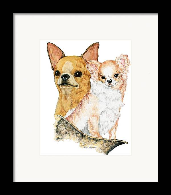 Chihuahua Framed Print featuring the drawing Chihuahuas by Kathleen Sepulveda