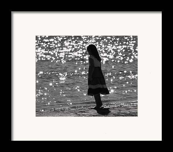 Framed Print featuring the photograph Child By Water by Lisa Johnston