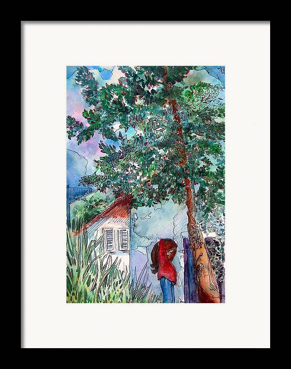 Child Framed Print featuring the drawing Child Of Paros by Mindy Newman