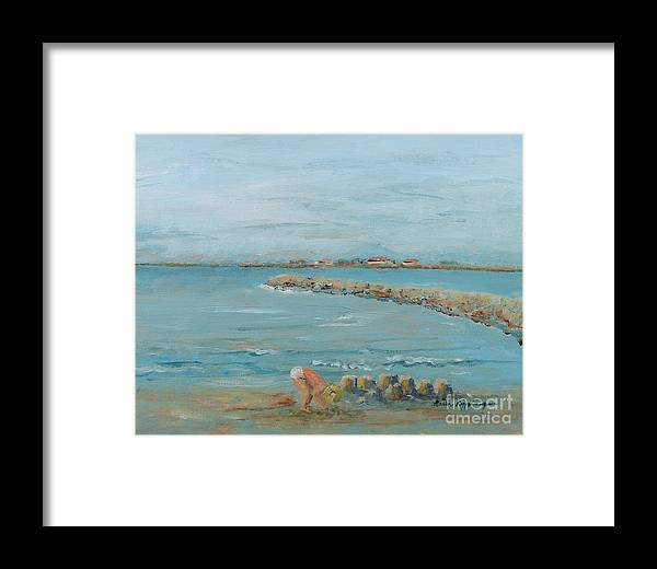 Beach Framed Print featuring the painting Child Playing At Provence Beach by Nadine Rippelmeyer