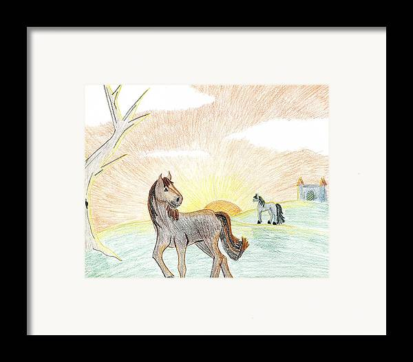 Horse Framed Print featuring the drawing Childhood Dream by Kim