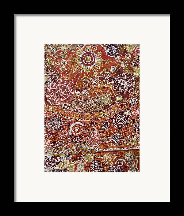 Aboriginal Framed Print featuring the painting Childhood Dreamin by Laura Johnson