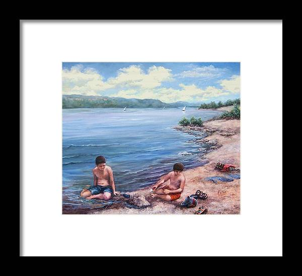 Beach Framed Print featuring the painting Childhood Toys And Sandy Boys by Virginia Potter