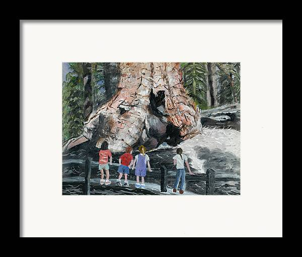 Children Framed Print featuring the painting Children At Sequoia National Park by Quwatha Valentine