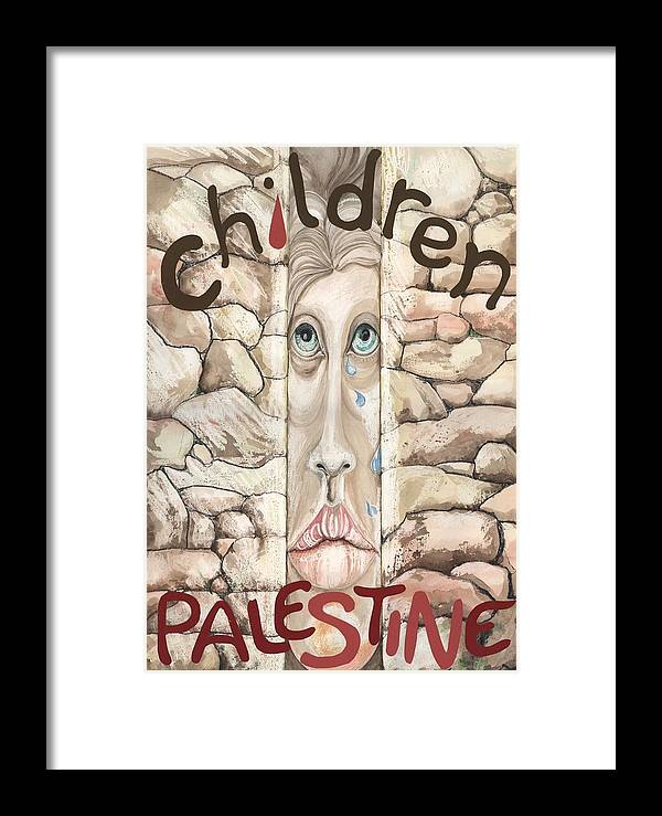 People Framed Print featuring the mixed media Children Of Palestine by Amrei Al-Tobaishi-Jarosch