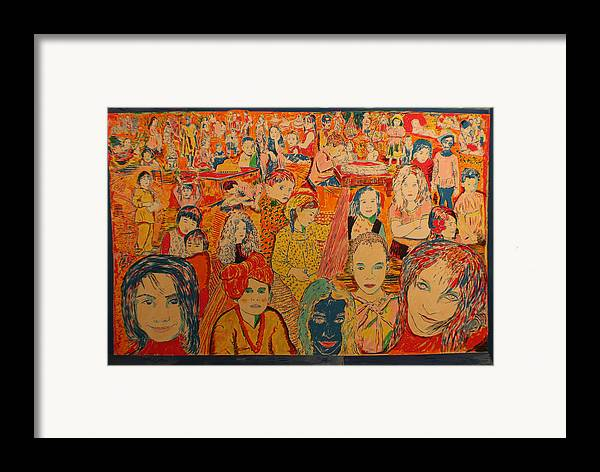 Framed Print featuring the painting Children Of The World by Biagio Civale