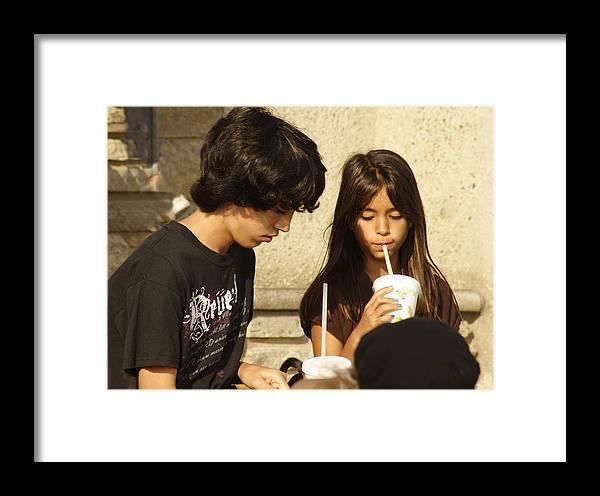 Children Talk Framed Print featuring the photograph Children Talk by Viktor Savchenko