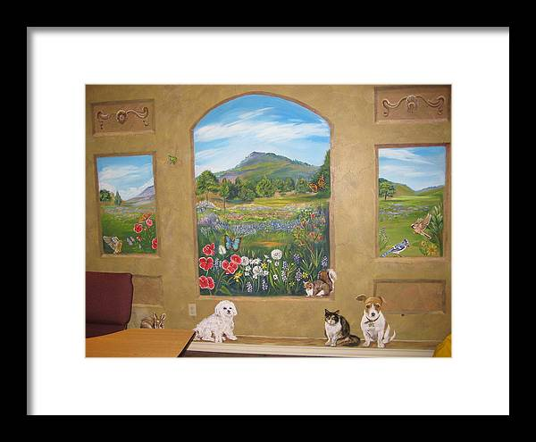 Landscape Framed Print featuring the painting Childrens Church Mural by Diann Baggett