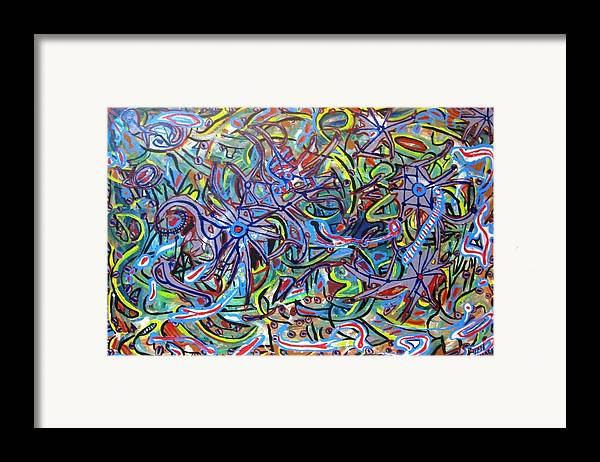Abstract Painting Framed Print featuring the painting Childsplay by Bryan Zingmark