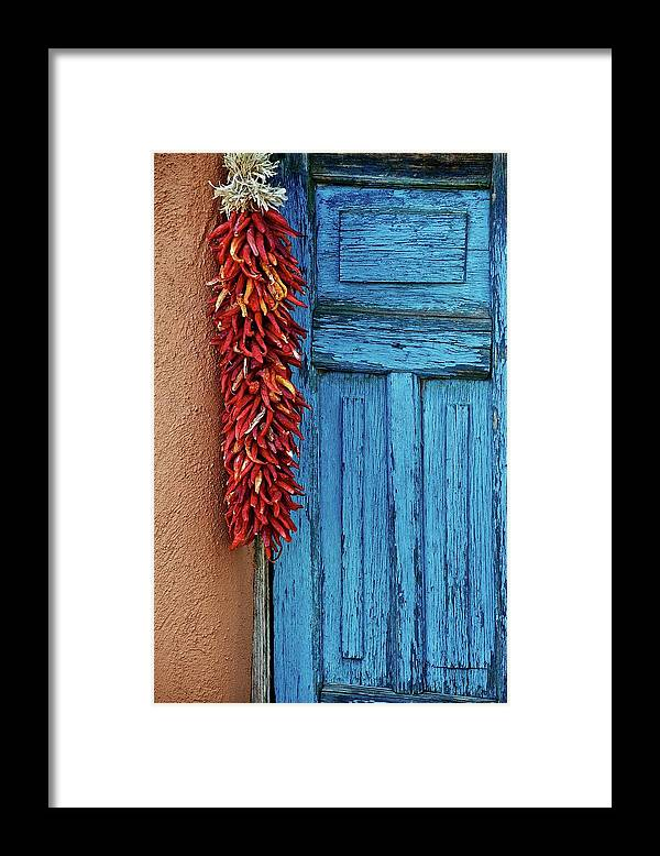 Southwest Framed Print featuring the photograph Chili Peppers and Door Panel by Zayne Diamond Photographic