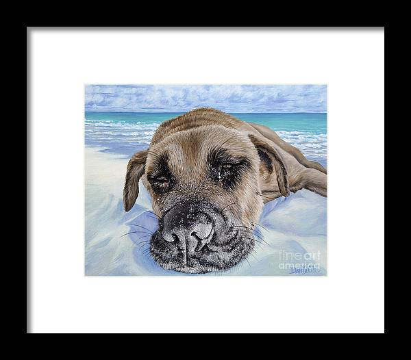 Pet Portrait Framed Print featuring the painting Chillin In Briland by Danielle Perry