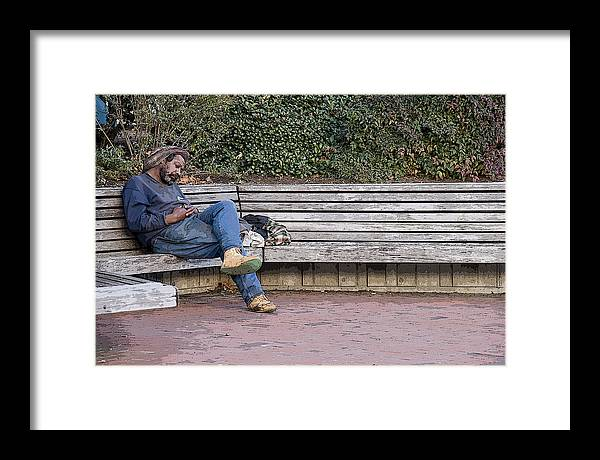 Homeless Framed Print featuring the photograph Chillin by Tom McElvy