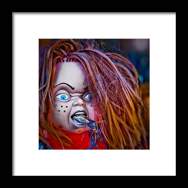 Horror Film Chuckie Smoking Chilling Psycheldelic Saturation Photography Framed Print featuring the photograph Chillin' With Chuckie by Karen LeGeyt