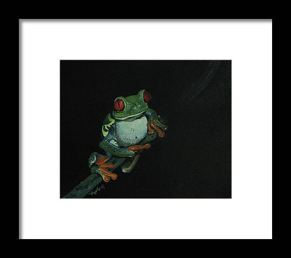 Frog Framed Print featuring the painting Chilling by Richard Ong