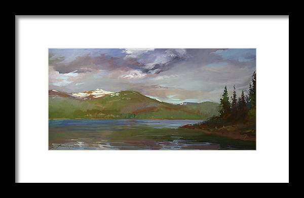 Murals Framed Print featuring the painting Chimney Rock at Priest Lake Plein Air by Betty Jean Billups