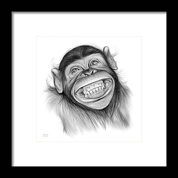 Chimpanzee Framed Print featuring the drawing Chimpanzee by Greg Joens