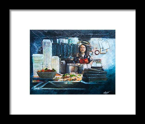 Chinese Framed Print featuring the painting China Kitchen by Victoria Heryet