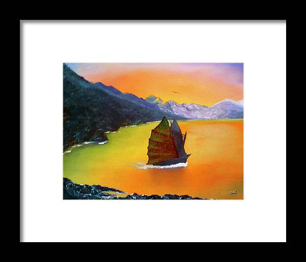 China Framed Print featuring the painting China Sea by CHAZ Daugherty