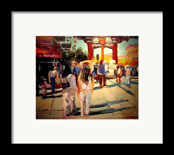 Landscape Paintings Framed Print featuring the painting Chinatown by Brian Simons