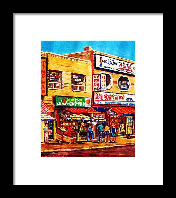 Montreal Framed Print featuring the painting Chinatown Markets by Carole Spandau