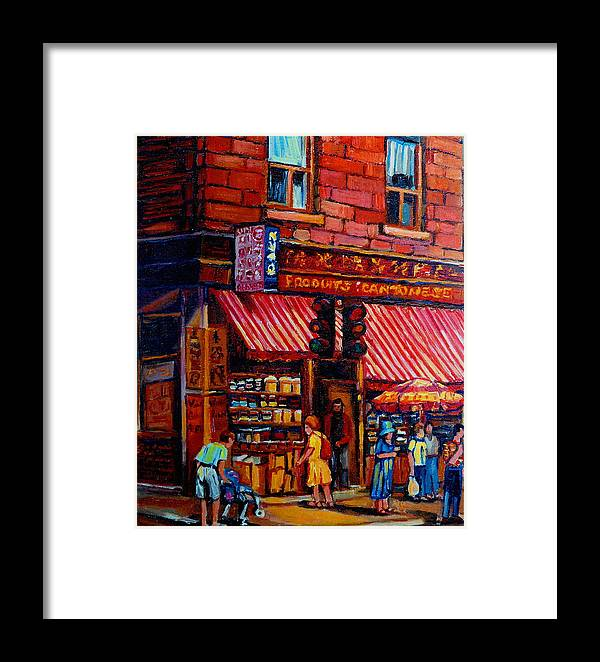 Chinatown Framed Print featuring the painting Chinatown Montreal by Carole Spandau