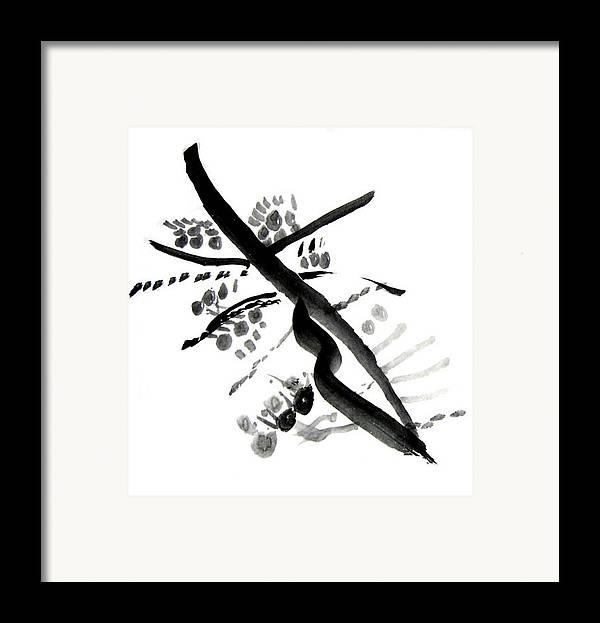 Chinese Brush Framed Print featuring the painting Chinese Brush Ll by Teri Ann Foley
