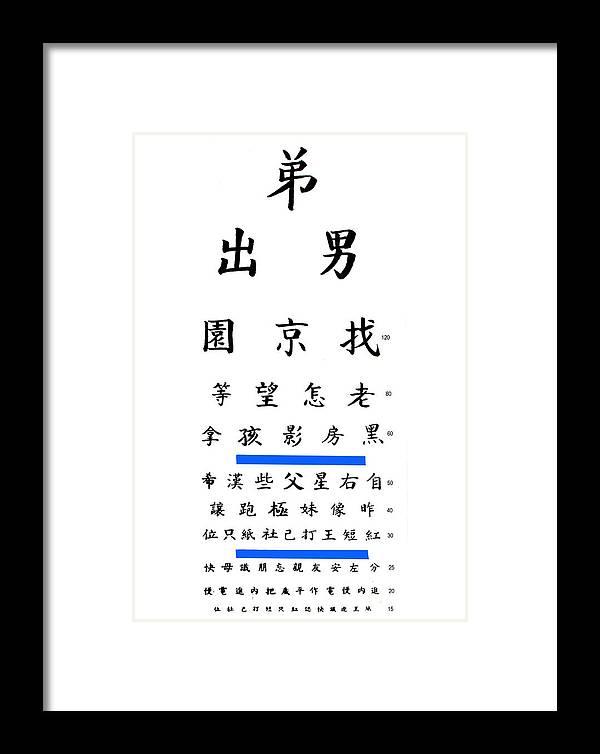 Chinese Eye Chart Framed Print By Larry Mulvehill
