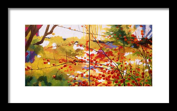 Landscape Framed Print featuring the painting Chinese Garden Grace by Melody Cleary