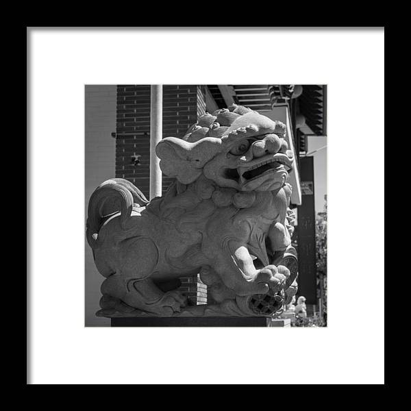 Teresa A Mucha Framed Print featuring the photograph Chinese Guardian Male Lion B W by Teresa Mucha