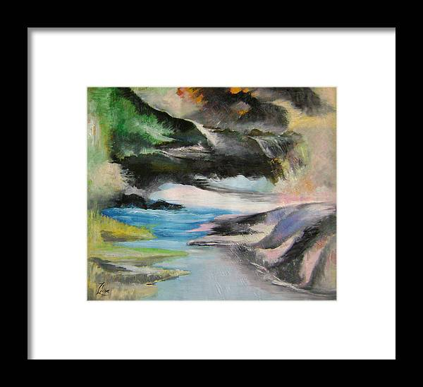 Abstract Framed Print featuring the painting Chinese Landscape 1 by Lian Zhen
