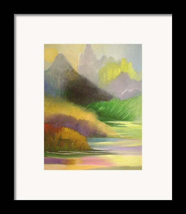 Abstract Framed Print featuring the painting Chinese Landscape 2 by Lian Zhen