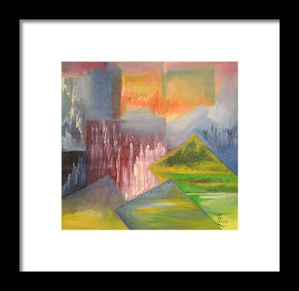 Abstract Framed Print featuring the painting Chinese Landscape 3 by Lian Zhen