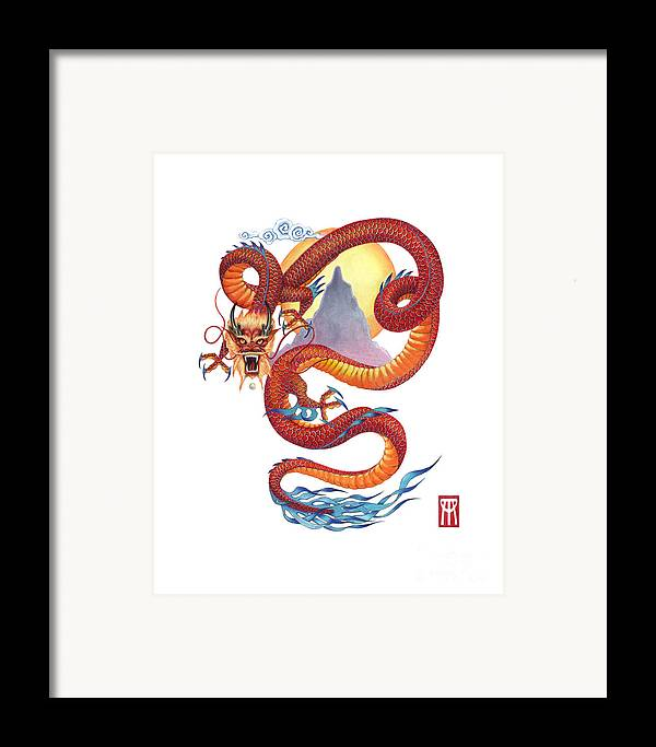 Dragon Framed Print featuring the painting Chinese Red Dragon by Melissa A Benson