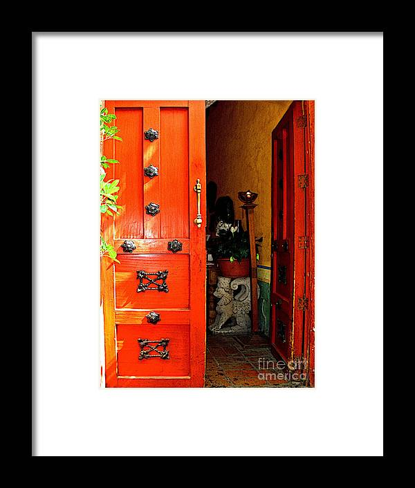 Tlaquepaque Framed Print featuring the photograph Chinese Red Shop Door by Mexicolors Art Photography