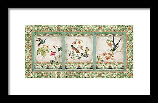 Chinese Ornamental Paper Framed Print featuring the digital art Triptych - Chinoiserie Vintage Hummingbirds n Flowers by Audrey Jeanne Roberts