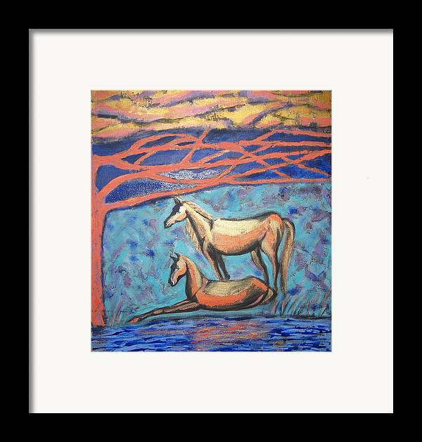Horse Framed Print featuring the painting Chinook Is Coming by Aliza Souleyeva-Alexander